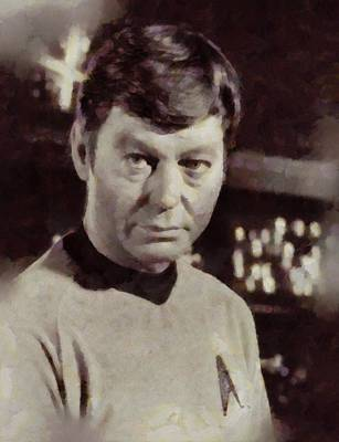 Elvis Presley Painting - Deforest Kelley, Dr. Mccoy, Star Trek Vintage by Sarah Kirk