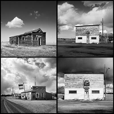Boondocks Photograph - Defunct Country Taverns On North Dakota Prairie Composite Square by Donald  Erickson
