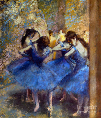 Degas: Blue Dancers, C1890 Art Print by Granger