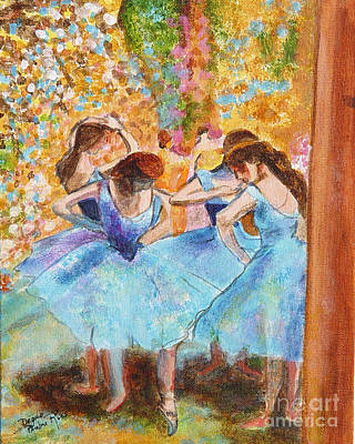 Degas Dancers In Blue Art Print by Pauline Ross