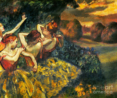 Degas: Four Dancers, C1899 Art Print by Granger