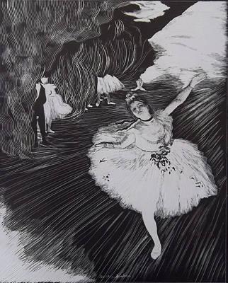 Degas' L'etoile In Scratchboard Art Print