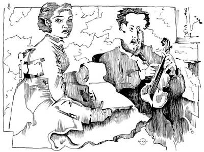 Gary Peterson Drawing - Degas Violin Teacher And Young Woman by Gary Peterson