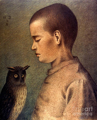 Photograph - Degouve: Child & Owl, 1892 by Granger