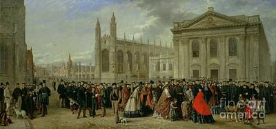Crowd Scene Painting - Degree Morning At Cambridge  by Robert Farren