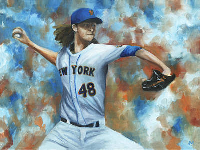 Pitcher Painting - deGrom by Joe Maracic