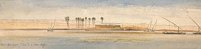 Drawing - Deir Kadige, 1 P.m., January 2, 1867 by Edward Lear