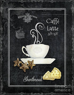 Print featuring the painting Deja Brew Chalkboard Coffee 2 Caffe Latte Shortbread Chocolate Cookies by Audrey Jeanne Roberts
