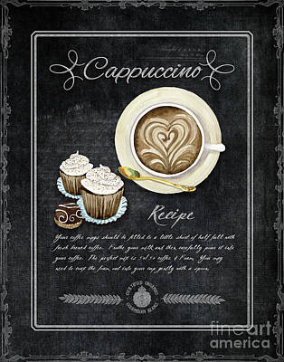 Print featuring the painting Deja Brew Chalkboard Coffee 3 Cappuccino Cupcakes Chocolate Recipe  by Audrey Jeanne Roberts