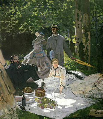 Wine Bottle Painting - Dejeuner Sur Lherbe by Claude Monet