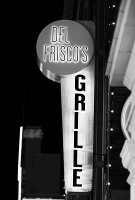Photograph - Del Frisco's Neon Bw by Rospotte Photography