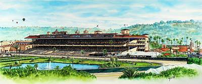 Horse Images Painting - Del Mar Race Track by John YATO