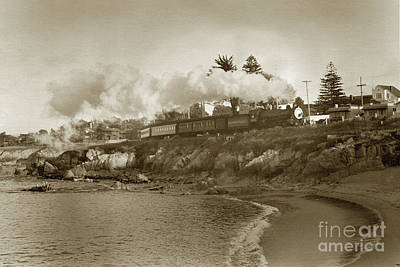 Photograph - Del Monte Train Passing Lovers Point Beach Coming From Monterey Circa 1953 by California Views Archives Mr Pat Hathaway Archives