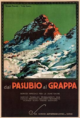 Mixed Media - Del Pasubio Al Grappa - Veneto, Italy - Retro Travel Poster - Vintage Poster by Studio Grafiikka