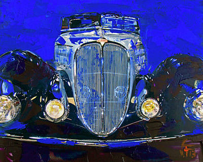 Painting - Delahaye Vintage Car Blue by Walter Fahmy