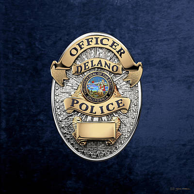 Delano Police Department - Officer Badge Over Blue Velvet Original