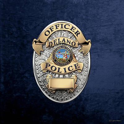 Delano Police Department - Officer Badge Over Blue Velvet Art Print by Serge Averbukh