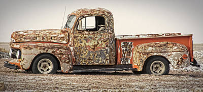Photograph - dilapidated Multicolored 51 Ford Pickup  by Phil Cardamone