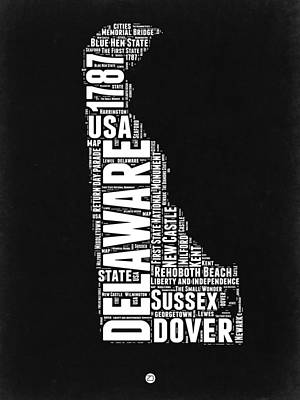 Delaware Black And White Map Art Print by Naxart Studio