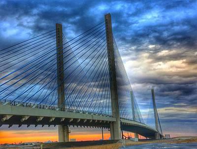 Delaware Bridge At Sunset Art Print