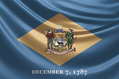 Digital Art - Delaware Coat Of Arms Over State Flag by Serge Averbukh