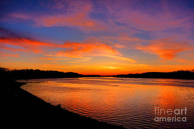 Afterglow Photograph - Delaware River Evening  by Olivier Le Queinec