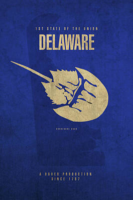 Horseshoe Crab Mixed Media - Delaware State Facts Minimalist Movie Poster Art by Design Turnpike