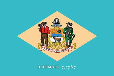 Photograph - Delaware State Flag by American School