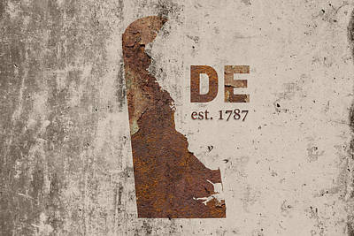 Delaware State Map Industrial Rusted Metal On Cement Wall With Founding Date Series 023 Art Print