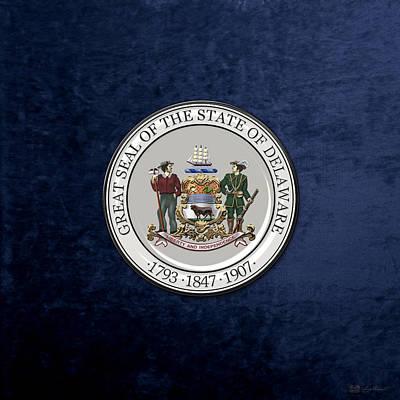 Digital Art - Delaware State Seal Over Blue Velvet by Serge Averbukh