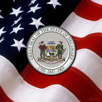 Digital Art - Delaware State Seal Over U.s. Flag by Serge Averbukh