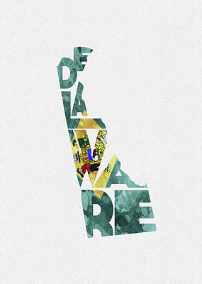 Delaware Typographic Map Flag Art Print