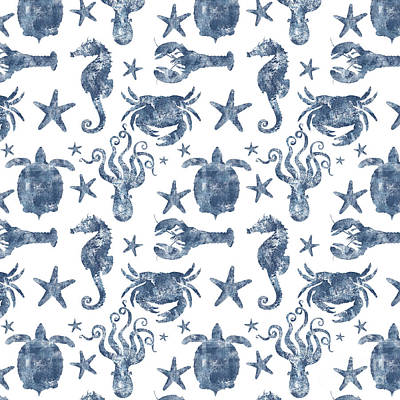 Ocean Turtle Drawing - Delft Blue Nautical Marine Life Pattern, Coastal Beach by Tina Lavoie