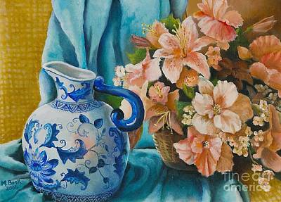 Art Print featuring the painting Delft Pitcher With Flowers by Marlene Book