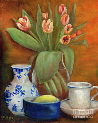 Art Print featuring the painting Delft Vase And Mini Tulips by Marlene Book