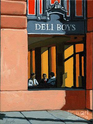 Deli Boys - Cafe Art Print by Linda Apple