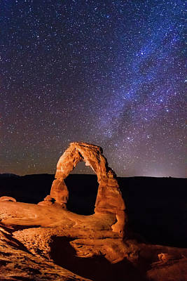 Exploration Photograph - Delicate Arch And Milky Way by Matthew Crowley Photography