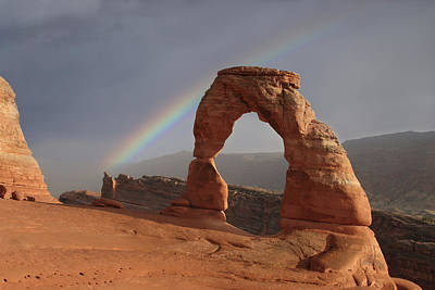 Photograph - Delicate Arch And Rainbow by Marie Leslie