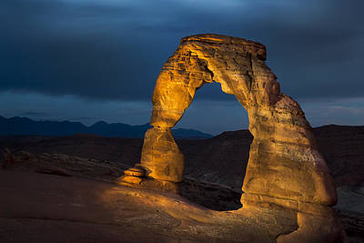 Hdr Photograph - Delicate Arch At Night by Adam Romanowicz