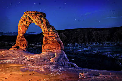 Photograph - Delicate Arch Light Painted by Mike Stephens