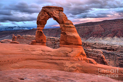 Photograph - Delicate Arch Pastel Skies by Adam Jewell