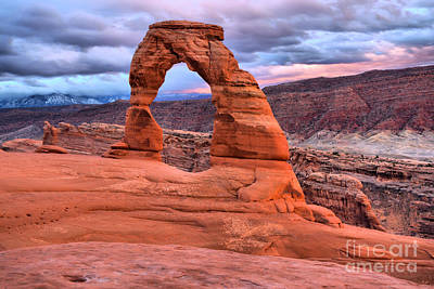 Photograph - Delicate Arch Pastel Stormy Skies by Adam Jewell