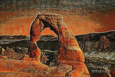 Photograph - Delicate Arch Sunset Poster by John Stephens