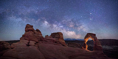 Digital Art - Delicate Arch Under The Starry Sky In Arches National Park Panorama  by OLena Art Brand