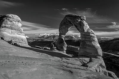 Delicate Arch Utah In Black And White Art Print