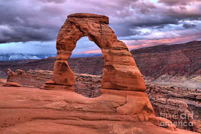 Photograph - Delicate Arch Winter Stormy Skies by Adam Jewell