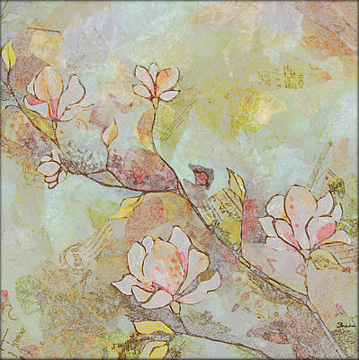 Retro Painting - Delicate Magnolias by Shadia Derbyshire