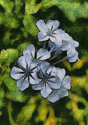Painting - Delicate Plumbago Painted In Van Goch Style by Taiche Acrylic Art
