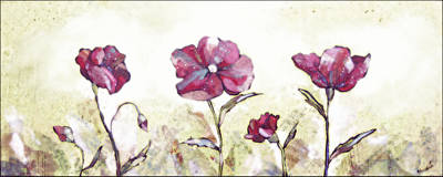 Burgundy Painting - Delicate Poppy II by Shadia Derbyshire