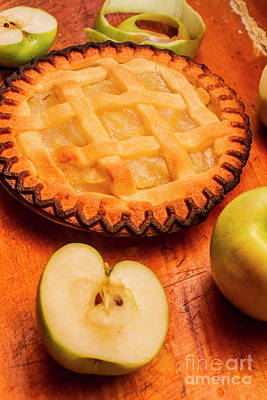Delicious Apple Pie With Fresh Apples On Table Print by Jorgo Photography - Wall Art Gallery